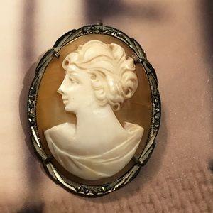 Vintage Cameo brooch pendant 900 silver marcasite